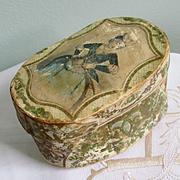 Superb Rare French Miniature Wallpaper Hat Band Box For Doll Accessories