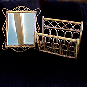 Vintage Bamboo Rattan Bentwood Matching Mirror and Rack