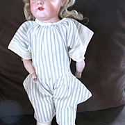 Early Home Spun Blue Pin Strip Romper Doll