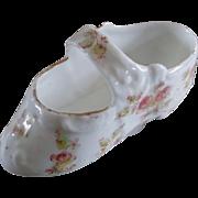 Sweetest Little Porcelain Child's Slipper Hand Painted Roses