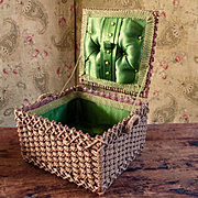 Victorian German Woven Sewing Basket Satin Lining