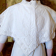 Beautiful Victorian Heavily Embroidered Cape-let Top For Larger Doll