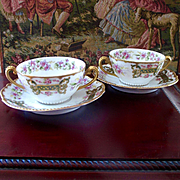 Exquisite Set Elite Cream Soup Cup Saucer Violets and Roses