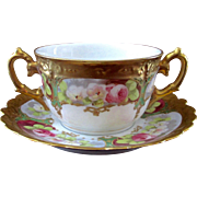 Lovely Limoges 2 Handled Hand Painted Cream Soup Roses