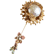 Dressy Miriam Haskell Baroque Large Faux Pearl Gilt Stickpin