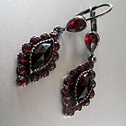 Lovely Bohemian Garnet Sterling Pierced Drop Earrings