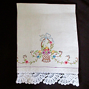 Darling Irish linen Embroidered Hand Towel Flower Basket