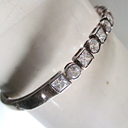 Fabulous Vintage Crystal Sterling Bangle Bracelet Signed Bridal