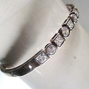 Fabulous Vintage Crystal Sterling Bangle Bracelet Signed Bridal