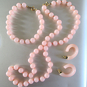 1960's Crown Trifari Parure Pink Lucite Beads