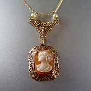 Victorian/Edwardian Gold Pearl Cameo Pendant Necklace