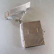 Art Deco Sterling Brooch Hanging Book Cover Pendant