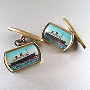 1930's Celluloid Ship Cufflinks Queen Elizabeth