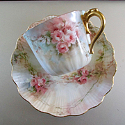 Artist Signed Lovely Very Delicate Limoges Rose Cup Saucer