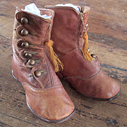Victorian High Top Boots With Tassels For Larger Doll