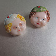 Rare Deco Glass 1920's Hand Painted  Child's Faces