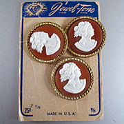 3 Large Lucite Cameo Buttons On Original Card