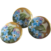 Limoges Porcelain Forget-me-not Buttons