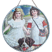 Victorian Chromolithograph Flue Cover Germany 2 Darling Girls St. Bernard