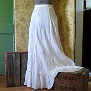 Precious 1940's Sateen Ruffled Floral Printed Petticoat Bridal