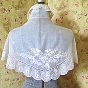 Victorian Hand Embroidered Lace Cape-let Bridal