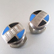 Art Deco Silver Plate Snap Cufflinks Signed Dated 1923