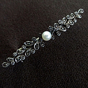 Edwardian Sterling Marcasite Brooch Pearl Signed