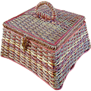 Vintage German Woven Reed Rattan Sewing Basket Silk Tufted Lining