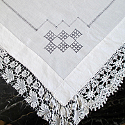 Linen Lace Table Cloth For Tea Or Card Table