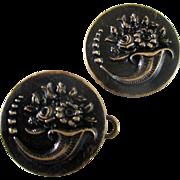Victorian Brass Cornucopia Large Buttons Set