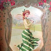 Antique Art Nouveau Celluloid Photo Album Woman Playing Tennis