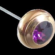 Victorian/Edwardian 14K Amethyst Elegant Hat Pin