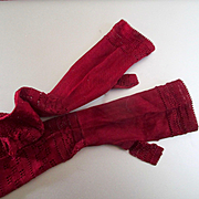 Victorian Tiny Silk Mesh Gloves For Doll Or Display