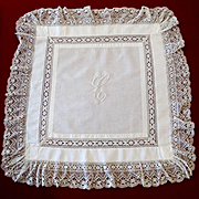 Lovely Victorian Tea Table Cloth Lace Monogram C For Bride