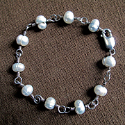 Ringed Freshwater Cultured Pearls Twisted Sterling Wire Bracelet