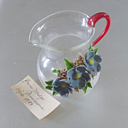 Darling Blown Glass Miniature Pitcher Applied Shell Flowers Note Included