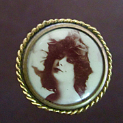 Victorian Pinback Hat Pin Sepia Photo Beautiful Woman