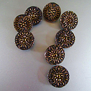 Victorian Style 1950's Le Chic Black Glass Gold Luster Buttons Set