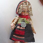 Darling Germany Signed Deco Celluloid Doll In Swedish Dress Medal