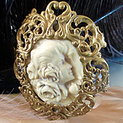 Art Nouveau Huge French Ivory (Celluloid) Gilt Beautiful Woman Roses