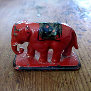 Cast Iron Cold Painted Miniature Elephant on Pedestal for Dollhouse