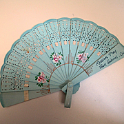 Deco Celluloid Doll Fan Painted Flowers
