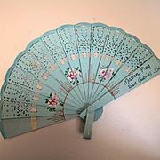 Deco Celluloid Doll Fan Painted Flowers
