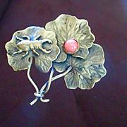 Art Nouveau Gilt Hat Pin Lily Pads Beetle Coral Cabochon