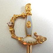Antique 14K Diamond Figural Stick Or Hat Pin Scabbard Ram's Head Phoenician Soldier