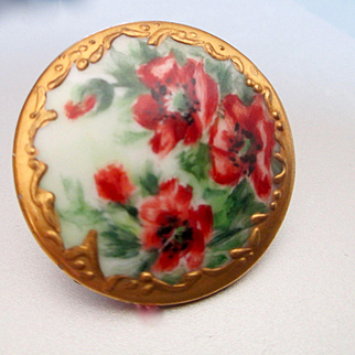 Limoges Hand Painted Large Porcelain Button For Blouse Poppies