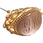 Large and Lovely Art Nouveau Gold Filled Monogrammed Hat Pin