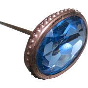 Victorian Ice Blue Glass Gold Filled Hat Pin