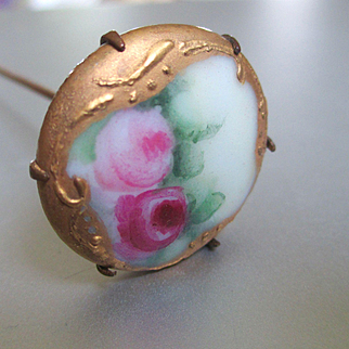 Limoges Victorian Hand Painted Porcelain Hat Pin Roses