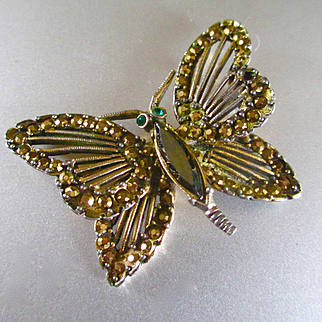 Vintage Weiss Marcasite and Glass Butterfly
